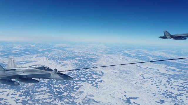 royal canadian air force cf-18 hornet's conduct aerial refueling with royal canadian air force cc-150t polaris tanker during a general flight to... - tail stock videos & royalty-free footage