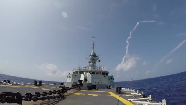 royal canadian navy frigate hmcs vancouver prepares and fires a missile during a missile exercise as part of the rim of the pacific exercise july 16 - arpone video stock e b–roll