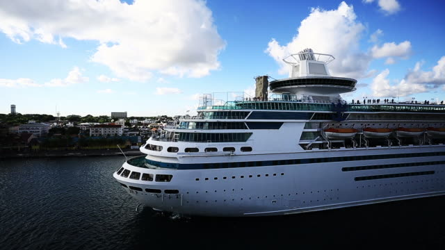 royal caribbean cruise liner in the port of nassau - caribbean sea stock videos & royalty-free footage