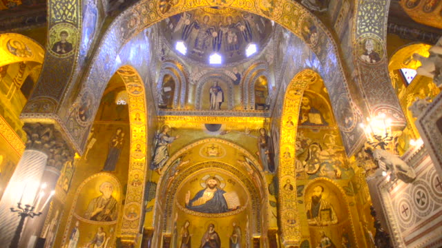 royal chapel (aka palatine chapel or cappella palatina) at the royal palace of palermo (palazzo reale, palace of the normans), sicily, italy, europe - christianity stock videos & royalty-free footage