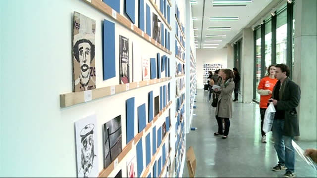 royal college of art secret postcard sale asif kapadia interview sot fun experience to create something on blank piece of paper art postcards on... - サザビーズ点の映像素材/bロール
