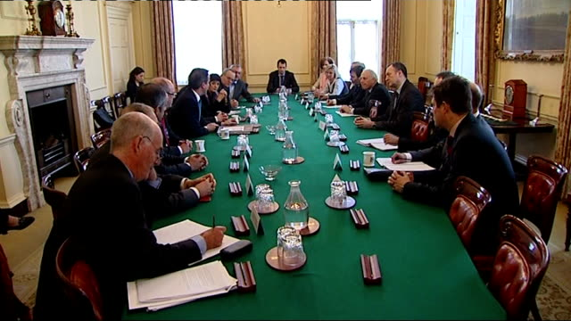 royal college of paediatrics withdraws suporrt for health bill lib int gvs david cameron mp and andrew lansley at round table meeting on future of... - 2012 stock videos and b-roll footage