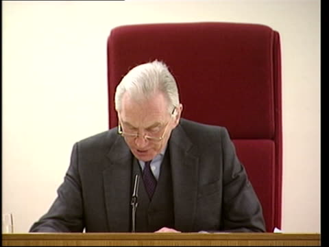 lord hutton reading from his report at press conference sot the allegation that mr gilligan was intending to broadcast in respect of the government... - greg dyke stock videos & royalty-free footage