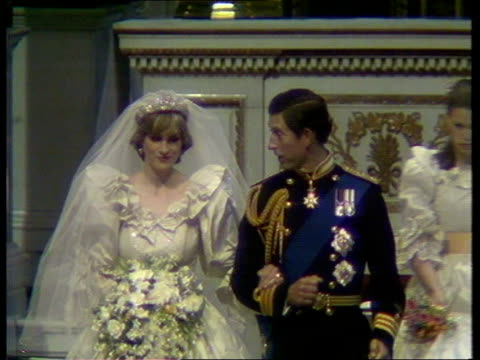 royal divorce made absolute ulm3145 st paul's cathedral seq royal wedding between prince charles lady diana spencer - prince of wales stock videos & royalty-free footage