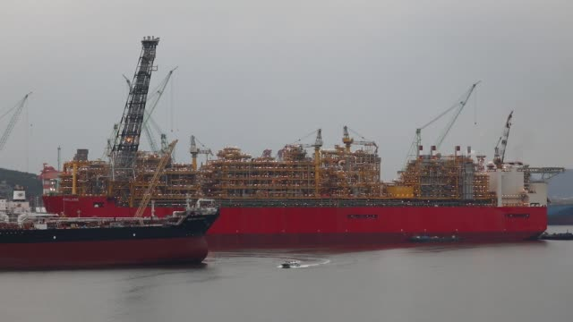Royal Dutch Shell Plc's Prelude floating liquefied natural gas facility sits under construction at the Samsung Heavy Industries Co shipyard in Geoje...