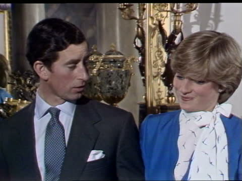 prince charles and lady diana interview: part one; england: london: buckingham palace: prince charles, prince of wales and lady diana spencer... - prinzessin stock-videos und b-roll-filmmaterial
