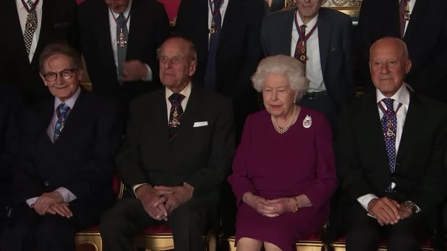 royal family and public celebrate birth of duke and duchess of sussex's son england berkshire windsor int queen elizabeth ii and prince philip duke... - prince philip stock videos & royalty-free footage
