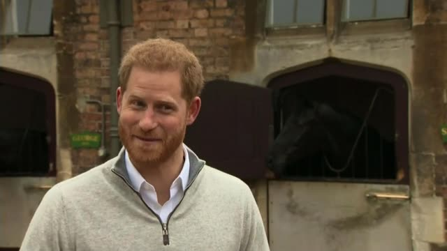 royal family and public celebrate birth of duke and duchess of sussex's son england berkshire windsor ext prince harry duke of sussex speaking to... - father stock videos & royalty-free footage