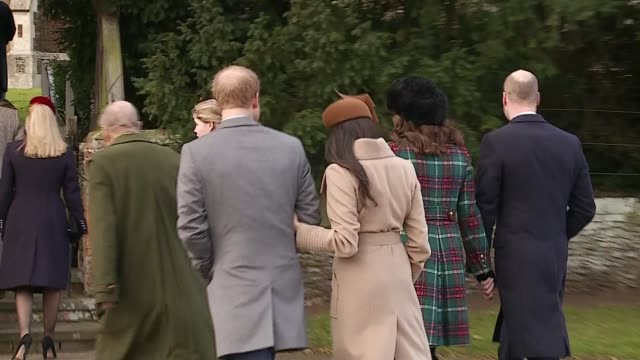 royal family arrival and departure at christmas day church service in sandringham england norfolk sandringham ext crowd gathered outside st mary... - prince william stock videos & royalty-free footage