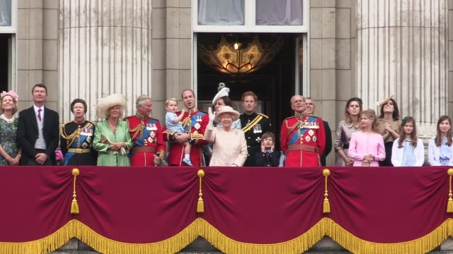 royal family at buckingham palace - queen royal person stock videos & royalty-free footage