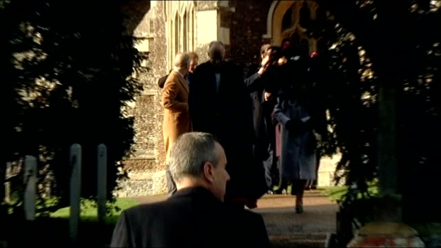 Royal family attend Christmas Day service at Sandringham ENGLAND Norfolk Sandringham EXT Crowds lining the route to church / Prince Andrew Prince...
