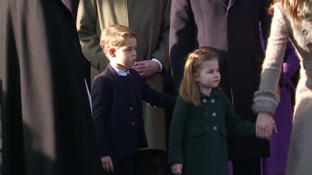 royal family attend christmas day service at sandringham / queen elizabeth christmas message uk norfolk duke and duchess of cambridge leave church... - charlotte stock-videos und b-roll-filmmaterial
