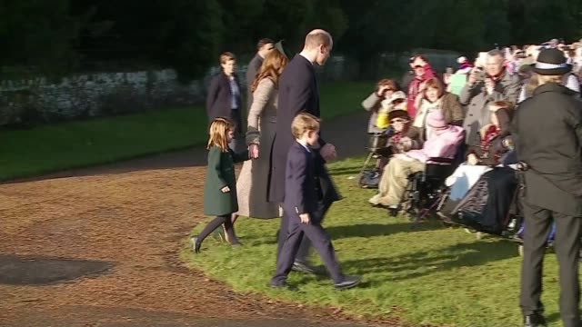 royal family attend christmas day service at sandringham / queen elizabeth christmas message; england: east anglia: norfolk: sandringham: st mary... - royalty stock videos & royalty-free footage