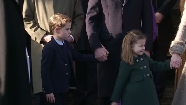 royal family attend christmas day service at sandringham / queen elizabeth christmas message england east anglia norfolk sandringham ext anne... - day stock videos & royalty-free footage