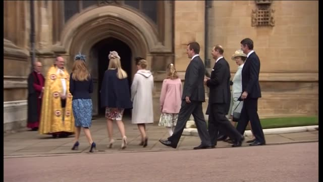 royal family attend easter church service in windsor england berkshire windsor st george's chapel ext right reverend david conner and another waiting... - st. george's chapel stock videos and b-roll footage