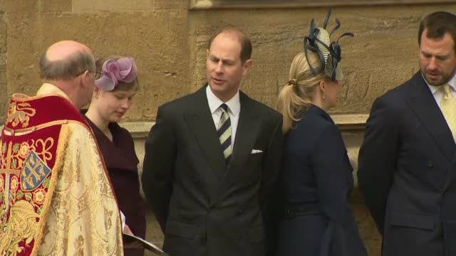 royal family attend easter sunday service at windsor england berkshire windsor windsor castle st george's chapel ext princess anne the princess royal... - fiancé stock videos and b-roll footage