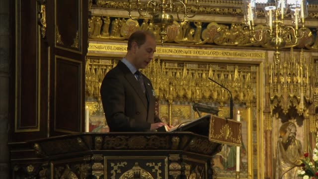 royal family attend service of thanksgiving in celebration of doe award diamond anniversary; general views of service of thanksgiving including... - prince edward, earl of wessex stock videos & royalty-free footage