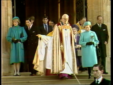 royal family attend st george's chapel service england windsor st george's chapel ext queen elizabeth and priest on new steps ms princess diana... - gottesdienst stock-videos und b-roll-filmmaterial