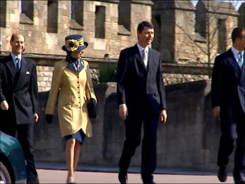 royal family attending easter sunday church service at windsor england windsor st george's chapel ext exterior of st george's chapel / prince edward... - st. george's chapel stock videos and b-roll footage