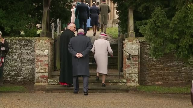 royal family attends christmas day service at sandringham england norfolk sandringham ext queen elizabeth from car as arriving at church for... - queen royal person stock videos & royalty-free footage