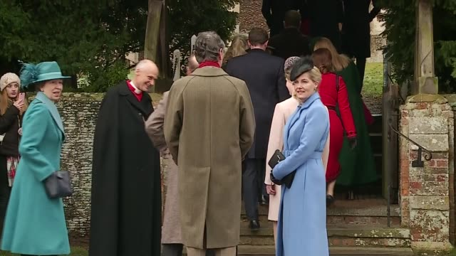 royal family attends christmas day service at sandringham; england: norfolk: sandringham: ext royal family outside sandringham church including... - sophie rhys jones, countess of wessex stock videos & royalty-free footage