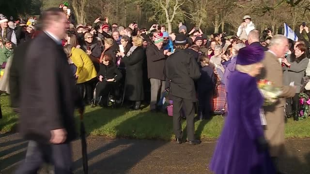 royal family attends christmas day service at sandringham; england: east anglia: norfolk: sandringham: st mary magdalene church: ext royal family... - east anglia stock videos & royalty-free footage