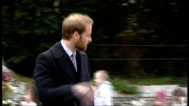 Royal family depart church on Christmas Day Princes William and Prince Harry leaving Zara Phillips Autumn Phillips and Peter Phillips leaving