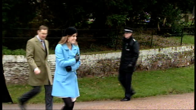Royal family depart church on Christmas Day Sophie joins Queen Elizabth at church entrance Princess Beatrice and Princess Eugenie leaving Queen...