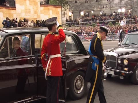 Royal family greeted by church officials on arrival at Westminster Abbey for the Royal Wedding of Prince William and Catherine Middleton