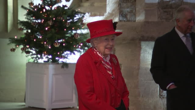 royal family listening to salvation army perform in the ground of windsor castle, queen, princess royal, prince of wales, duchess of cornwall, duke... - sophie rhys jones, countess of wessex stock videos & royalty-free footage