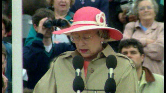 Royal family not invited to 65th anniversary of DDay commemorations LIB Normandy EXT Queen Elizabeth II speaking at podium at 50th Anniversary of...