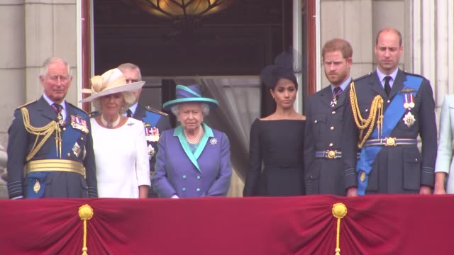 royal family watch raf flypast from buckingham palace balcony england london buckingham palace queen elizabeth ii prince charles prince of wales... - prince harry stock videos & royalty-free footage