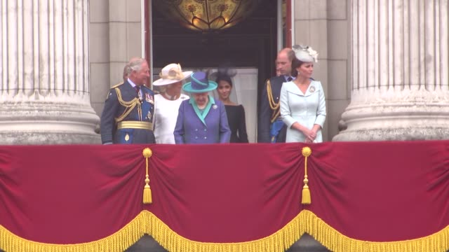 royal family watch raf flypast from buckingham palace balcony england london buckingham palace ext queen elizabeth ii prince charles prince of wales... - meghan duchess of sussex stock videos and b-roll footage