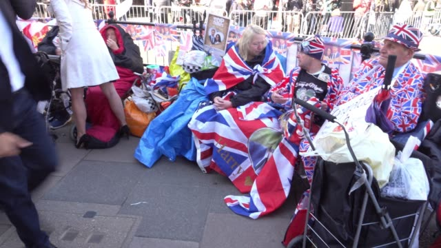 royal fan camp on the street close to windsor castle ahead of the royal wedding of prince harry to ms meghan markle on saturday in windsor on may 17... - meghan harry stock videos and b-roll footage