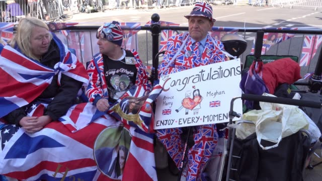 royal fan camp on the street close to windsor castle ahead of the royal wedding of prince harry to ms meghan markle on saturday in windsor on may 17... - prince harry stock videos and b-roll footage