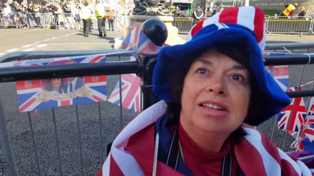 royal fans gather outside windsor castle in preparation for prince harry and meghan markle's wedding including nancy mccoy from san francisco john... - prince harry stock videos and b-roll footage