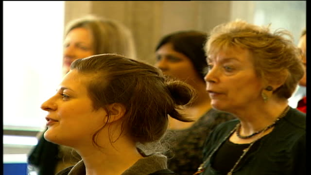 royal festival hall choir auditions men and women singing during auditions audtionees singing and shaking their bodies during warmup - royal festival hall stock videos & royalty-free footage