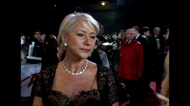 ext mirren speaking to press as arrives for national movie awards - royal festival hall stock videos and b-roll footage
