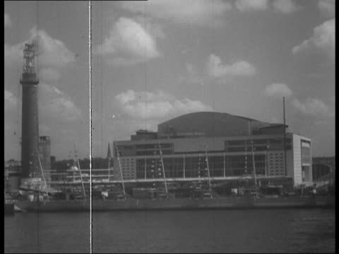 royal festival hall opens as part of festival of britain; 1950s - royal festival hall stock videos & royalty-free footage