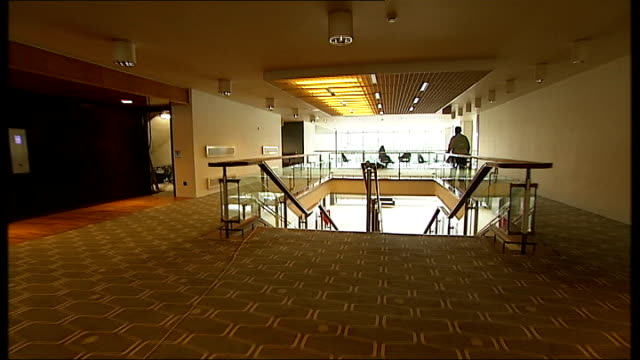 royal festival hall refurbished cutaway shot over new carpet tracking shot through auditorium - royal festival hall stock videos & royalty-free footage
