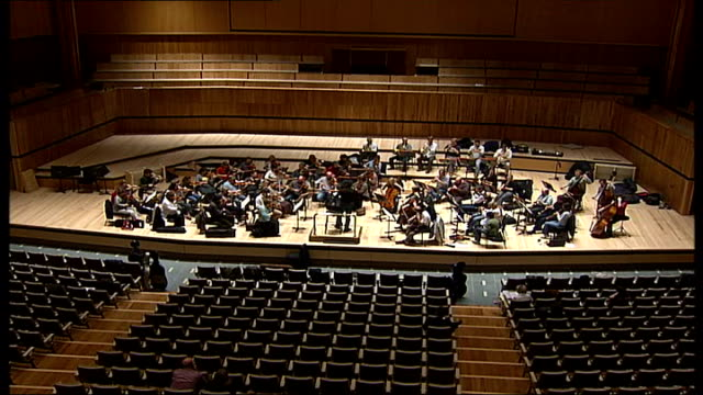 royal festival hall refurbished int orchestra at rehearsal in auditorium sot - royal festival hall stock videos & royalty-free footage