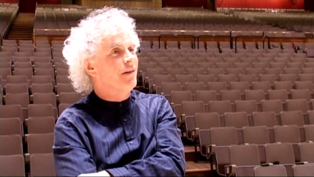 royal festival hall refurbished sir simon rattle interview sot first day has been real pleasure to play here - royal festival hall stock videos & royalty-free footage