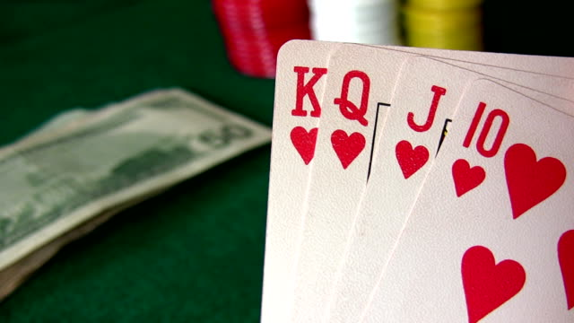 royal flush hearts - number 10 stock videos & royalty-free footage
