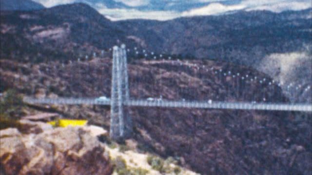 royal gorge bridge (archival 1950s) - suspension bridge stock videos & royalty-free footage