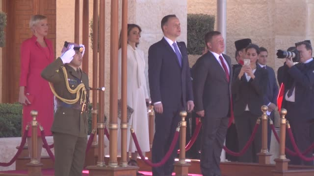 Royal honour guard salute at the reception of President of the Republic Poland Andrzej Duda upon his arrival with his wife Agata KornhauserDuda as...