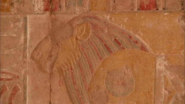a royal lion is carved into the side of an ancient temple wall at deir el-bahari egypt. available in hd. - tempio di hatshepsut video stock e b–roll