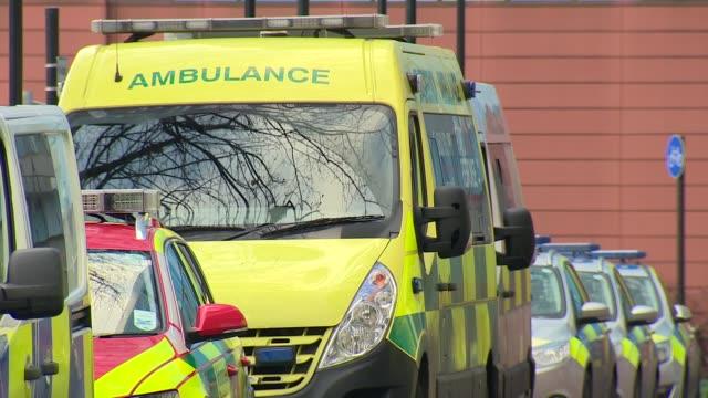 Royal London Hospital general views ENGLAND London Whitechapel Royal London Hospital EXT GVs Royal London Hospital / ambulances / accident and...