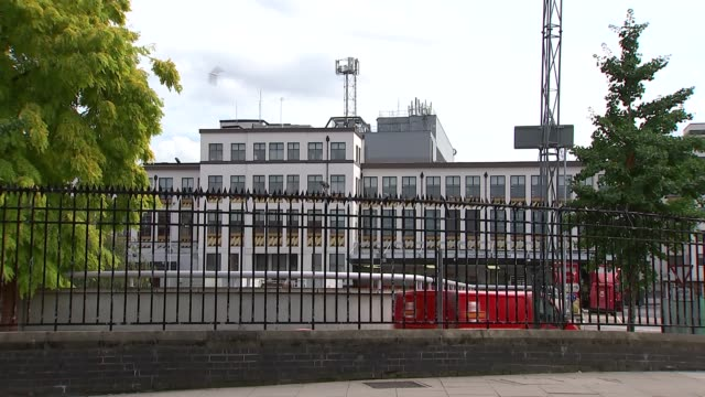 Mount Pleasant Mail Centre ENGLAND London Mount Pleasant Mail Centre EXT Mount Pleasant Mail Centre building / Royal Mail van driving out of gates /...