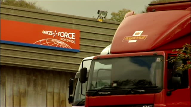 Royal Mail postal workers to hold more days of strikes Devon Plymouth Royal Mail lorry parked outside Parcel Force depot Parcel Force lorry parked...