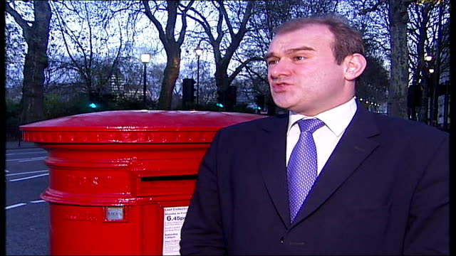 thousands of post offices threatened by closure; london: ext ed davey mp interview sot - labour ministers to blame westminster: kate hoey mp... - verherrlichung stock-videos und b-roll-filmmaterial
